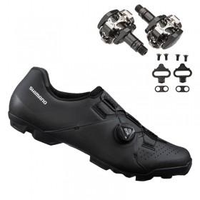 Sapatilha Mtb Ciclismo Shimano Xc300 Preta + Pedal Shimano M505