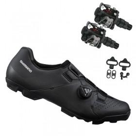 Sapatilha Mtb Ciclismo Shimano Xc300 Preta + Pedal Wellgo M919