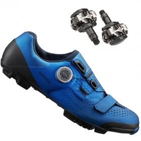 Sapatilha Mtb Ciclismo Shimano Xc501 Azul + Pedal Shimano M505