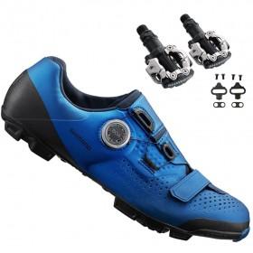 Sapatilha Mtb Ciclismo Shimano Xc501 Azul + Pedal Shimano M520
