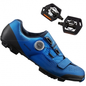 Sapatilha Mtb Ciclismo Shimano Xc501 Azul + Pedal Shimano T421
