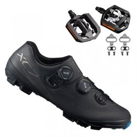 Sapatilha Mtb Ciclismo Shimano Xc701 Preta + Pedal Shimano T421