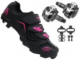 Sapatilha Mtb Ciclismo Tsw New Fit Feminina + Pedal Shimano M505