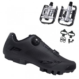 Sapatilha Mtb Ciclismo Tsw Smart II Preta + Pedal Wellgo C2 Plataforma