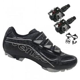 Sapatilha Mtb Ciclismo Venzo Evo Vsx Preto + Pedal Wellgo M919