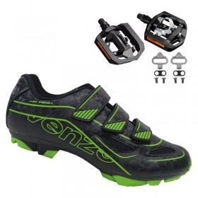 Sapatilha Mtb Ciclismo Venzo Evo Vsx Verde + Pedal Shimano T421