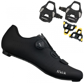 Sapatilha Speed Ciclismo Fizik Tempo Overcurve R5 Preta + Pedal Shimano RS500