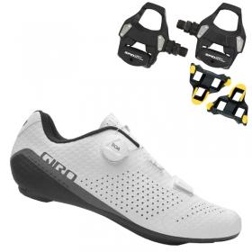 Sapatilha Speed Ciclismo Giro Cadet Branca + Pedal Shimano RS500
