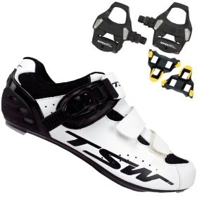 Sapatilha Speed Ciclismo Tsw Rocket Branca + Pedal Shimano RS500