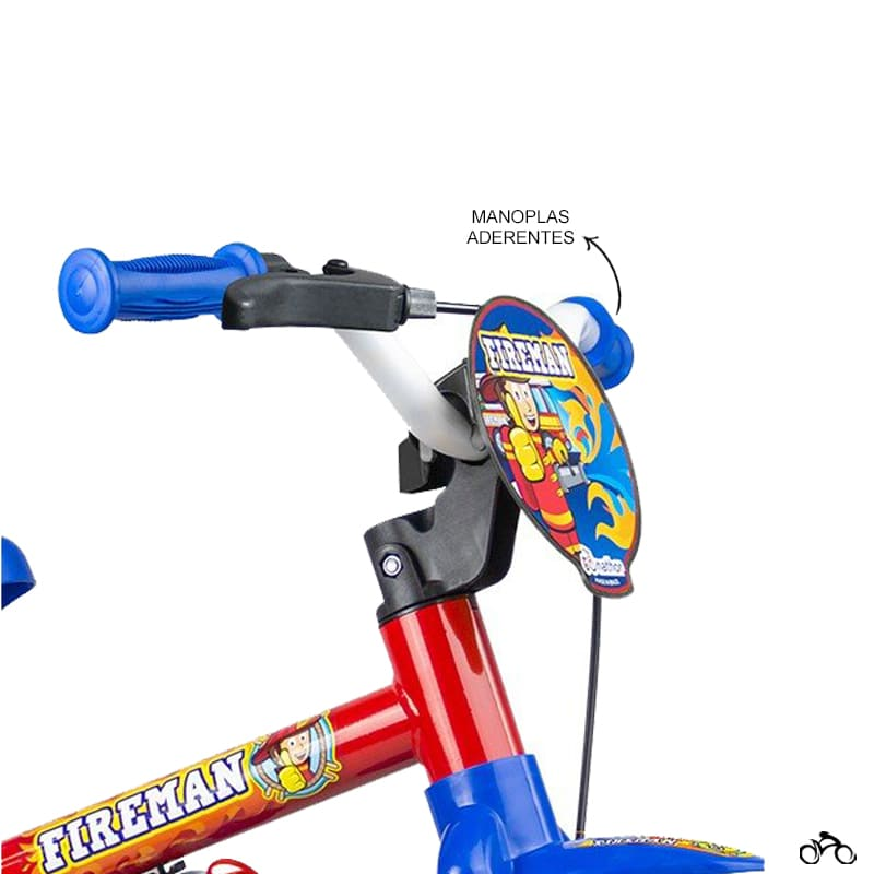 Bicicleta Infantil Nathor Fireman Aro 12 + Capacete Absolute Kids Shake Tubarão