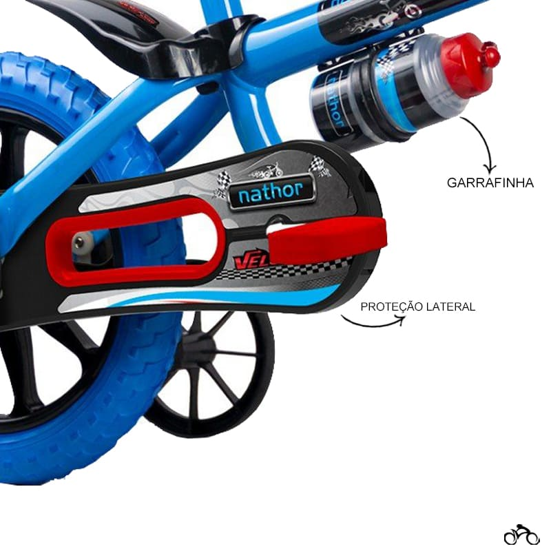 Bicicleta Infantil Nathor Veloz Aro 12 + Capacete Absolute Kids Shake Tubarão
