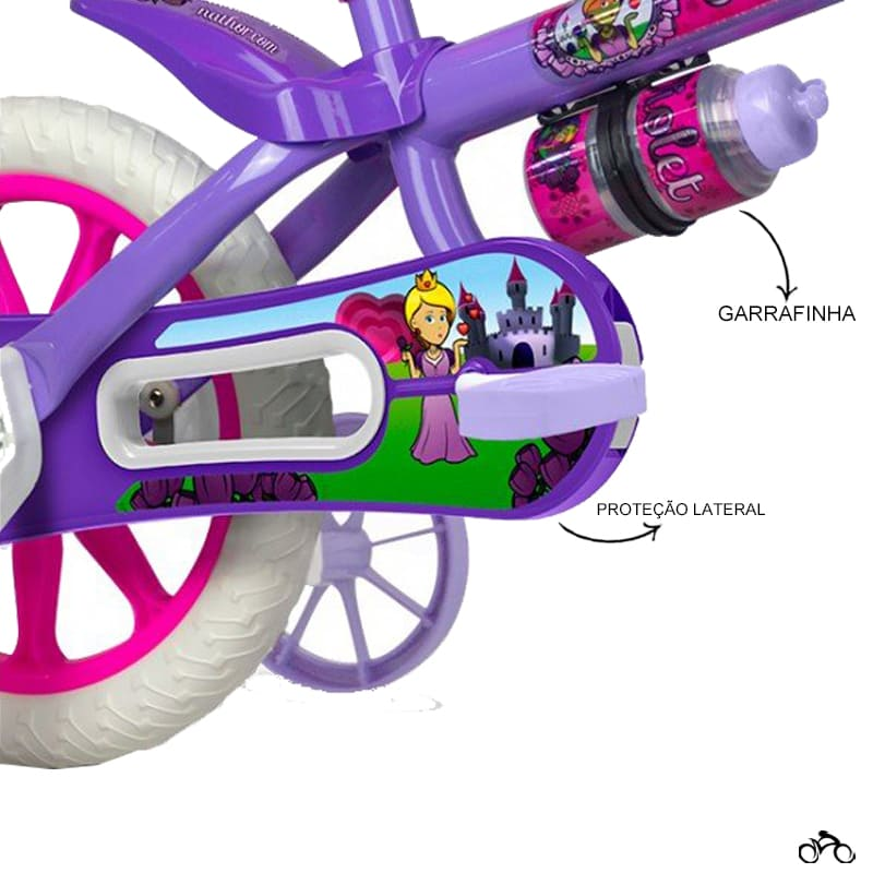 Bicicleta Infantil Nathor Violet Aro 12 + Capacete Absolute Kids Shake Unicórnio