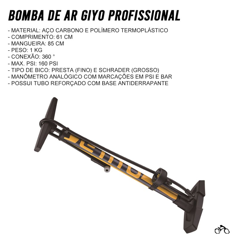 Bomba de Bicicleta Giyo GF-55E de Oficina com Manômetro Mtb Speed