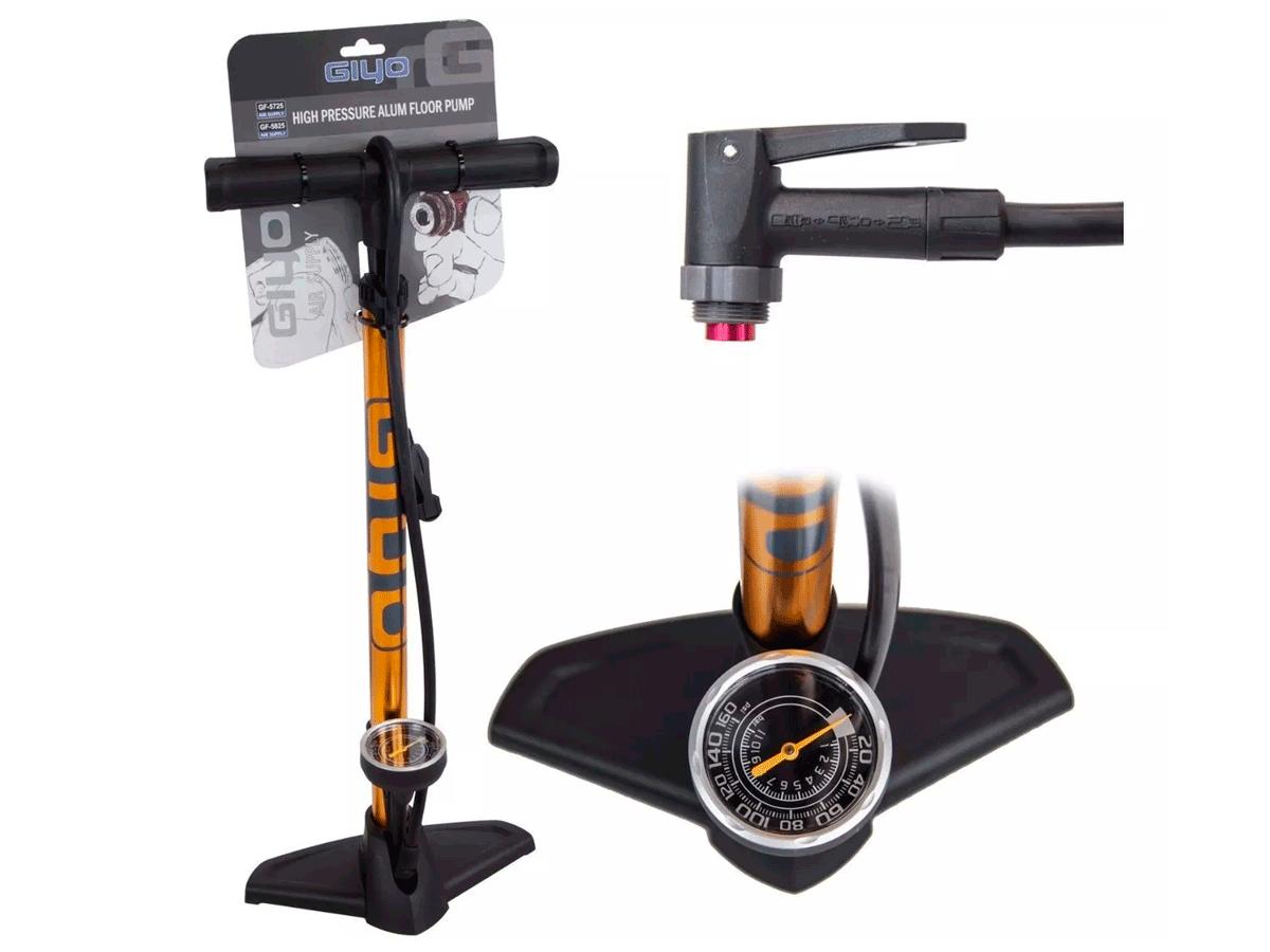 Bomba de Bicicleta Giyo GF-5725 de Oficina Dourada com Manômetro Mtb Speed