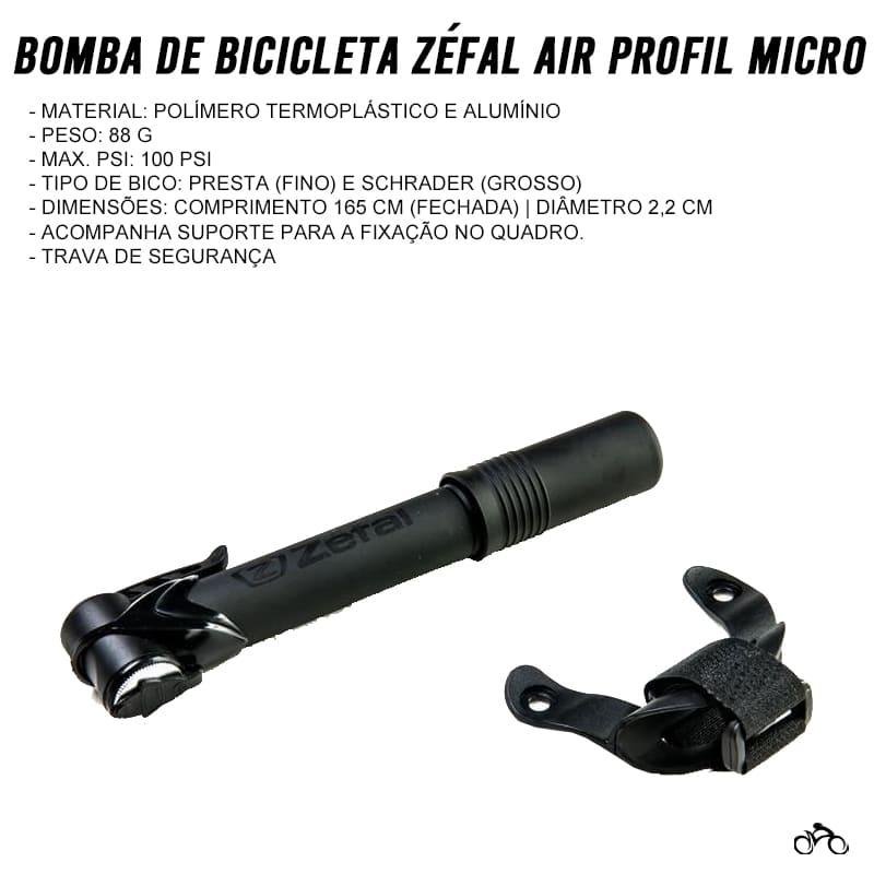 Bomba De Bicicleta Zéfal Air Profil Micro Mtb Speed