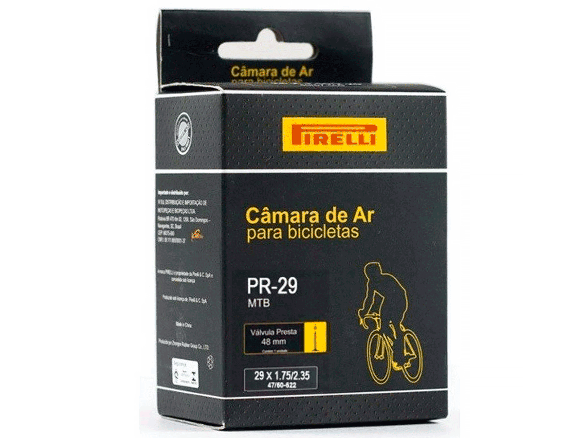 Câmara de Ar Bicicleta 29 Pirelli Válvula Presta 48mm Mtb
