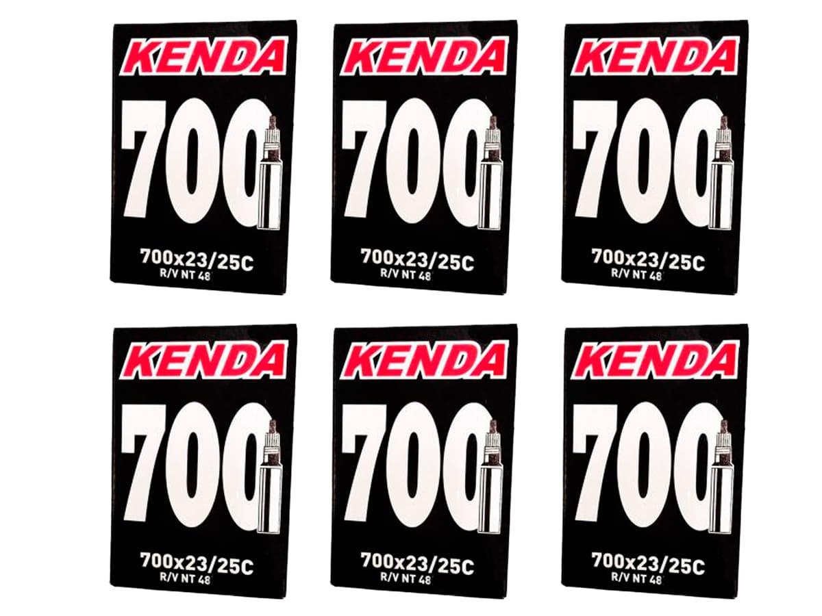 Câmara de Ar Bicicleta 700x23/25c Kenda Válvula Presta 48mm 6 Unid Speed