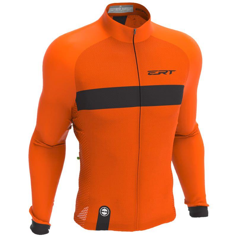Camisa Ciclismo Ert Manga Longa Nova Tour Stripe Orange Mtb Speed