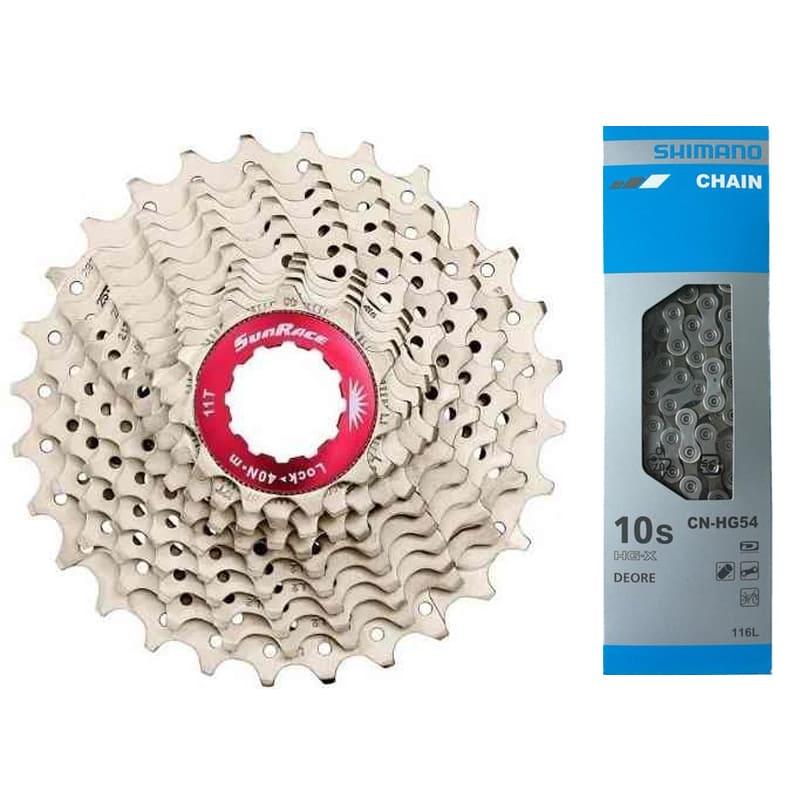 Cassete Bike Sunrace Rx Speed 10v 11/28 + Corrente Shimano 10v