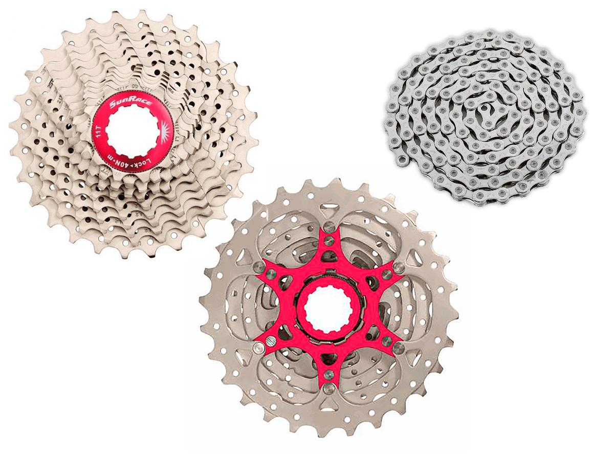 Cassete Bike Sunrace Rx Speed 10v 11/28 + Corrente Sunrace 10v