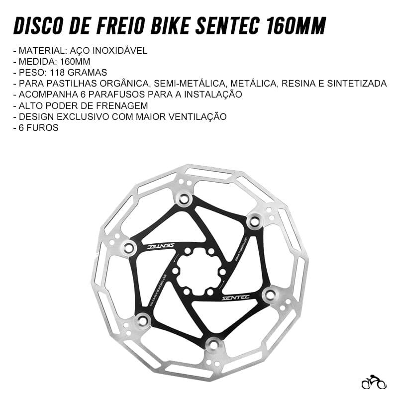 Disco de Freio Bike Sentec 160mm Rotor 6 Furos Inox