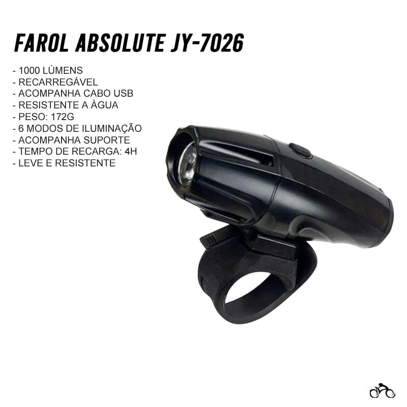 Farol para Bike Absolute JY-7026 1000 Lúmens Usb Led