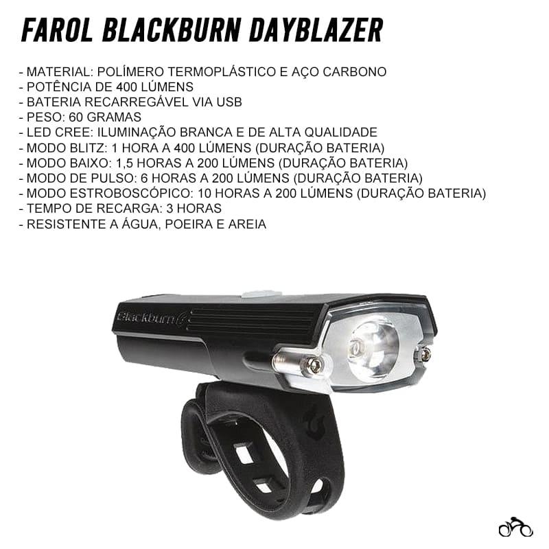 Farol para Bike Blackburn Dayblazer 400 Lúmens Led Usb