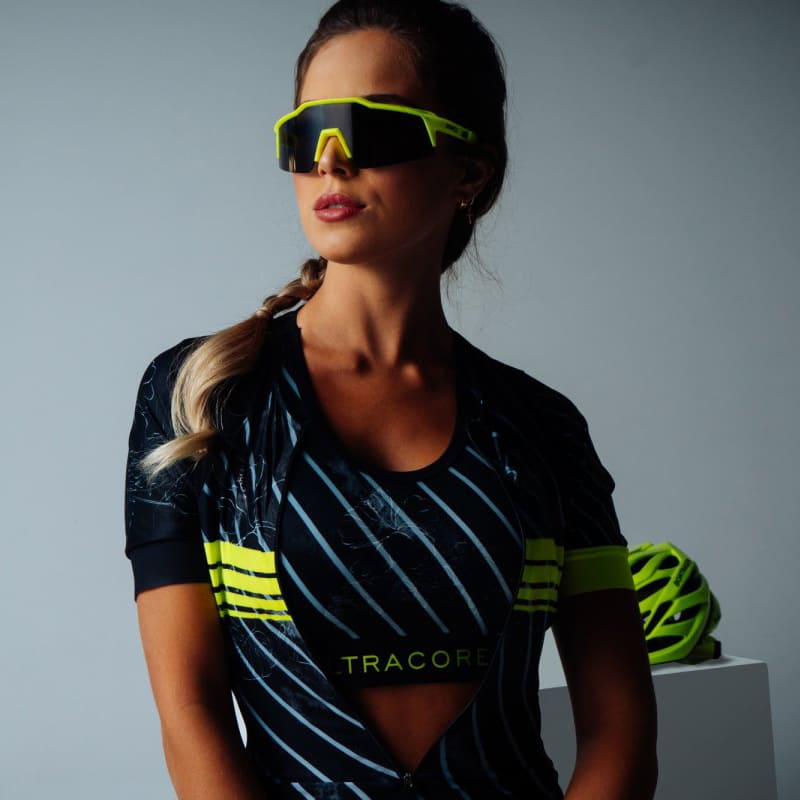 Macaquinho Ultracore Flower Neon Forro Gel Feminino Ciclismo Mtb Speed