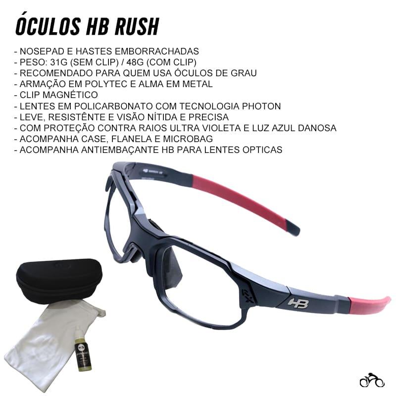 Óculos Ciclismo de Grau Hb Rush Clip On Matte Navy