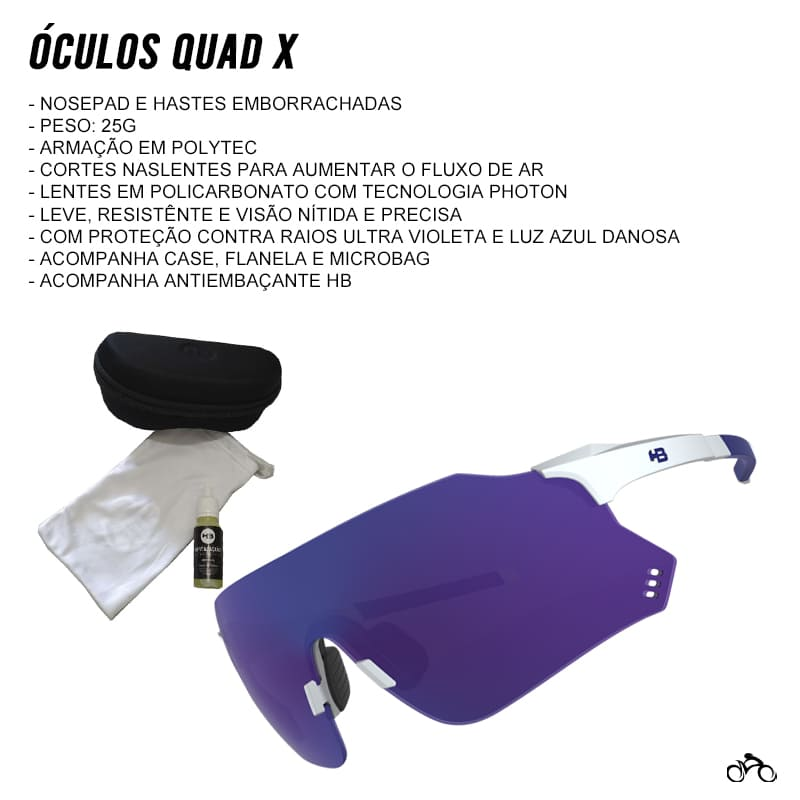 Óculos Ciclismo Hb Quad X Pearled White