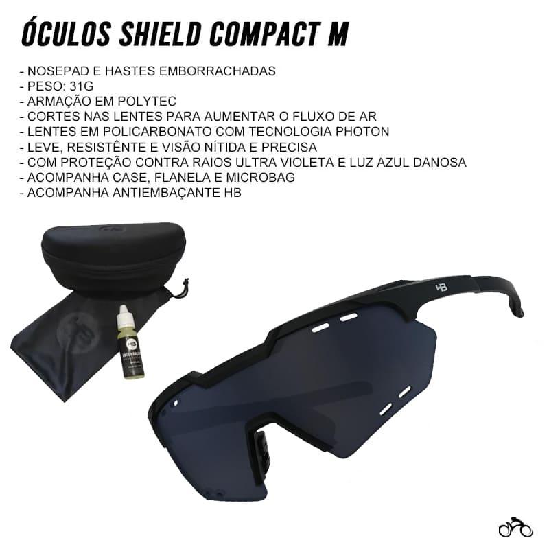 Óculos Ciclismo Hb Shield Compact Mountain Matte Black Gray
