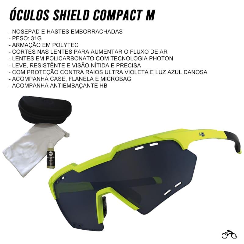 Óculos Ciclismo Hb Shield Compact Mountain Neon Yellow