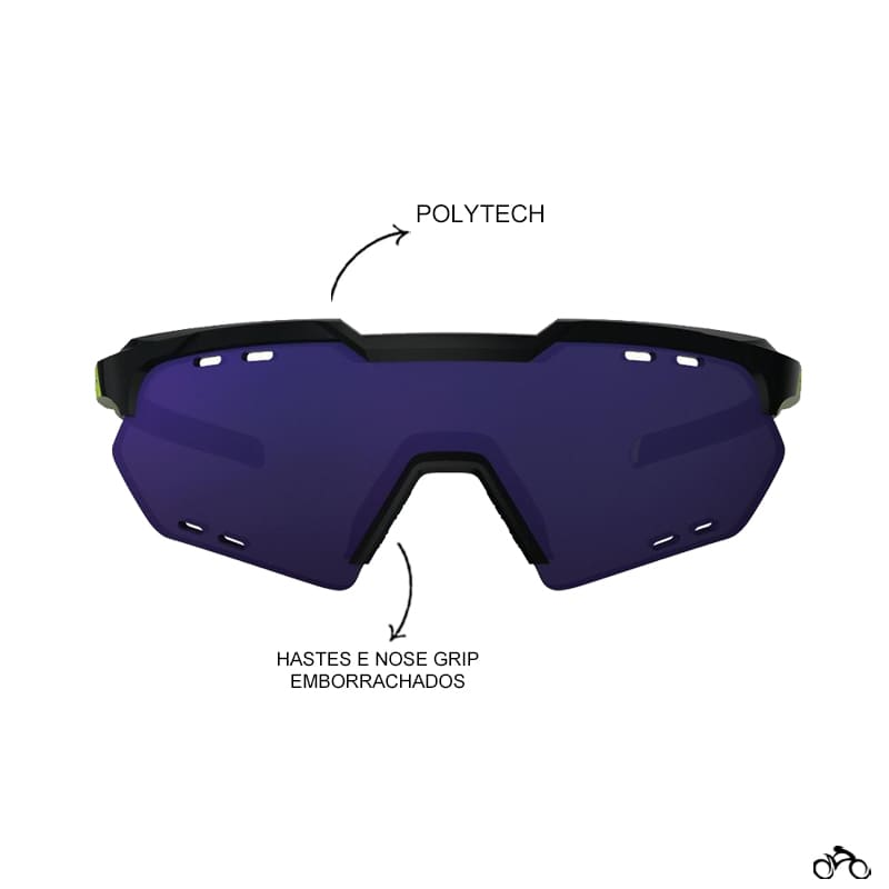 Óculos Ciclismo Hb Shield Compact Road Gloss Black Neon Yellow