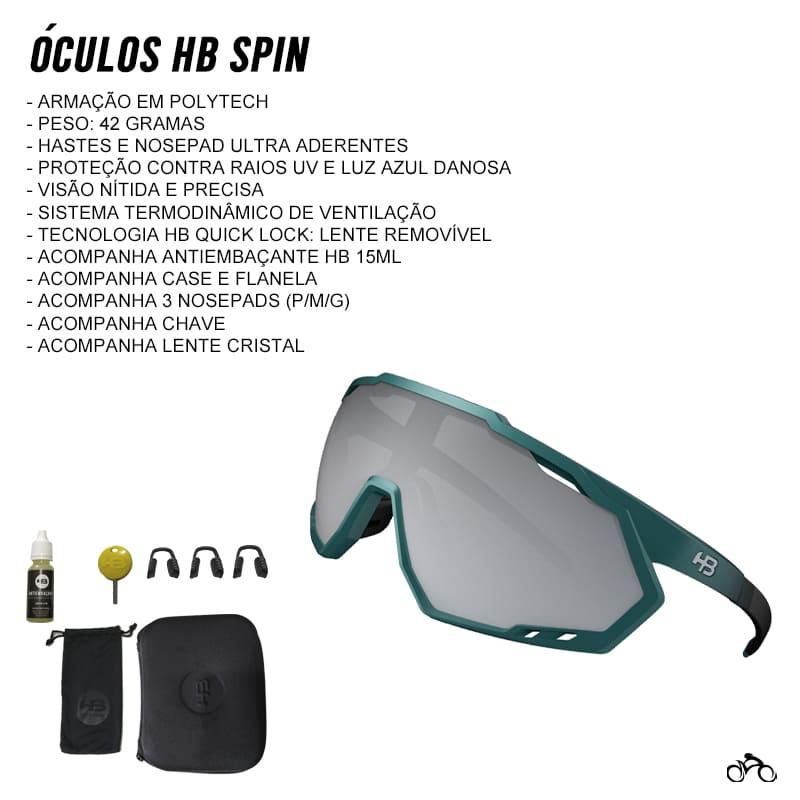 Óculos Ciclismo Hb Spin Gradient Dark Green Silver