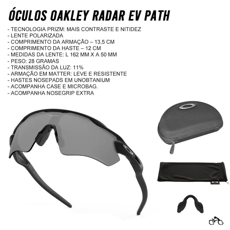 Óculos Ciclismo Oakley Radar Ev Path Matte Black Prizm Black Polarized