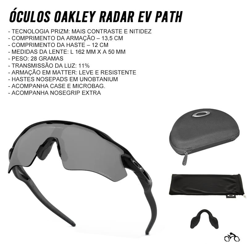 Óculos Ciclismo Oakley Radar Ev Path Polished Black Prizm Black Iridium