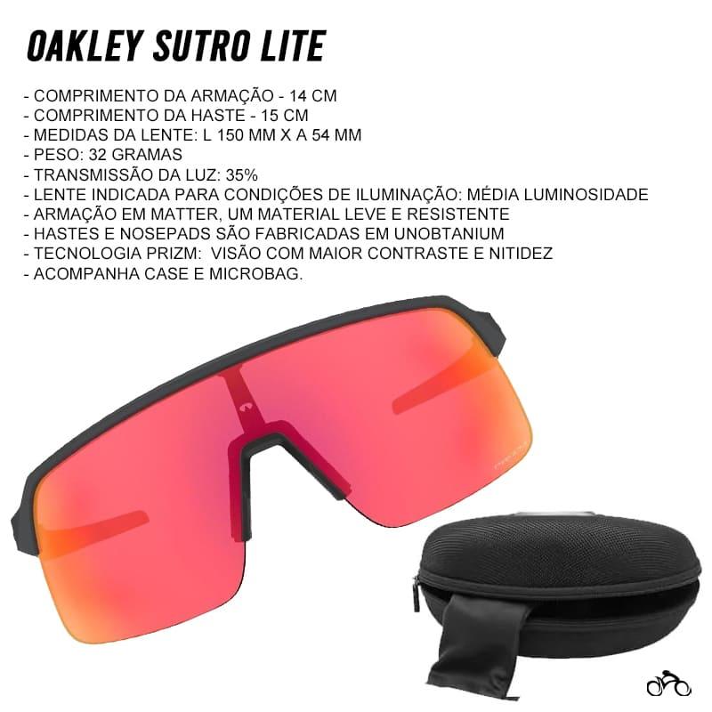 Óculos Ciclismo Oakley Sutro Lite Matte Carbon Prizm Trail Torch