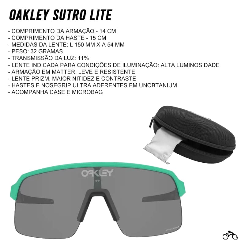 Óculos Ciclismo Oakley Sutro Lite Matte Celeste Prizm Black
