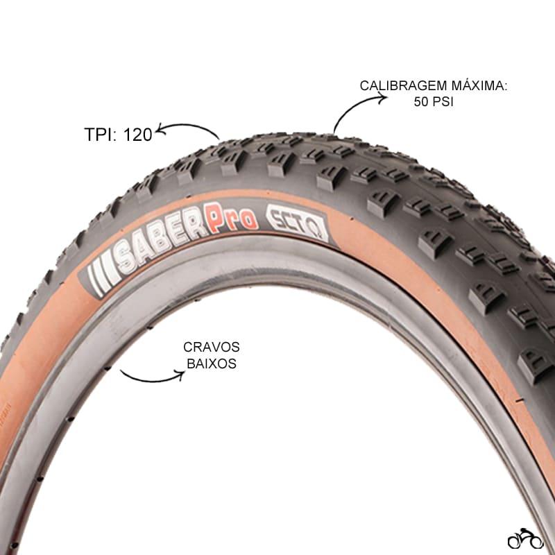 Pneu de Bicicleta Kenda Saber Pro Faixa Marrom 29 x 2.40 Sct Mtb Kevlar