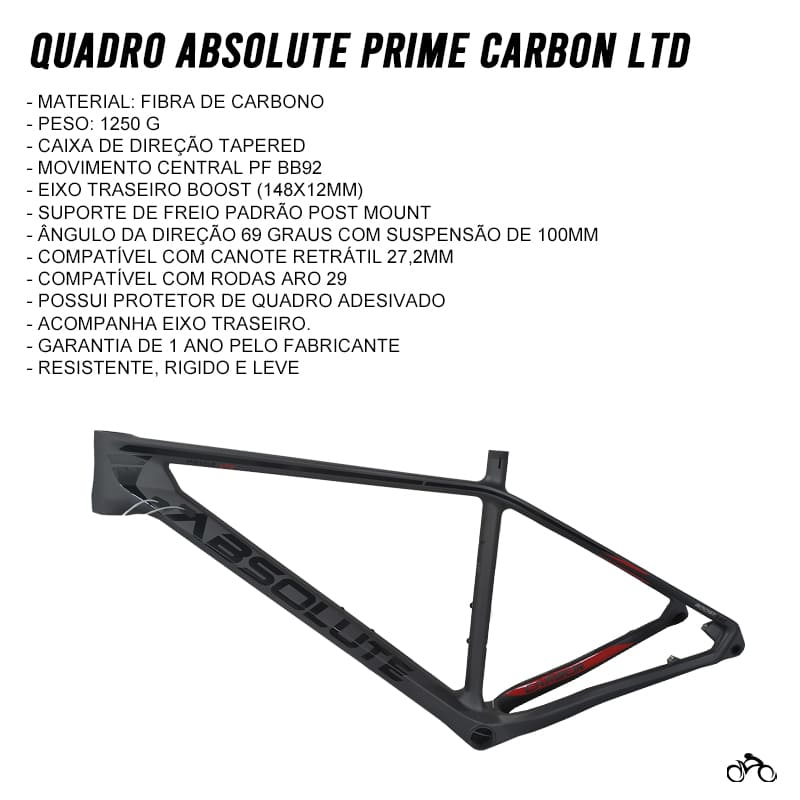 Quadro de Bicicleta Absolute Prime Limited Edition Carbon 29 Mtb