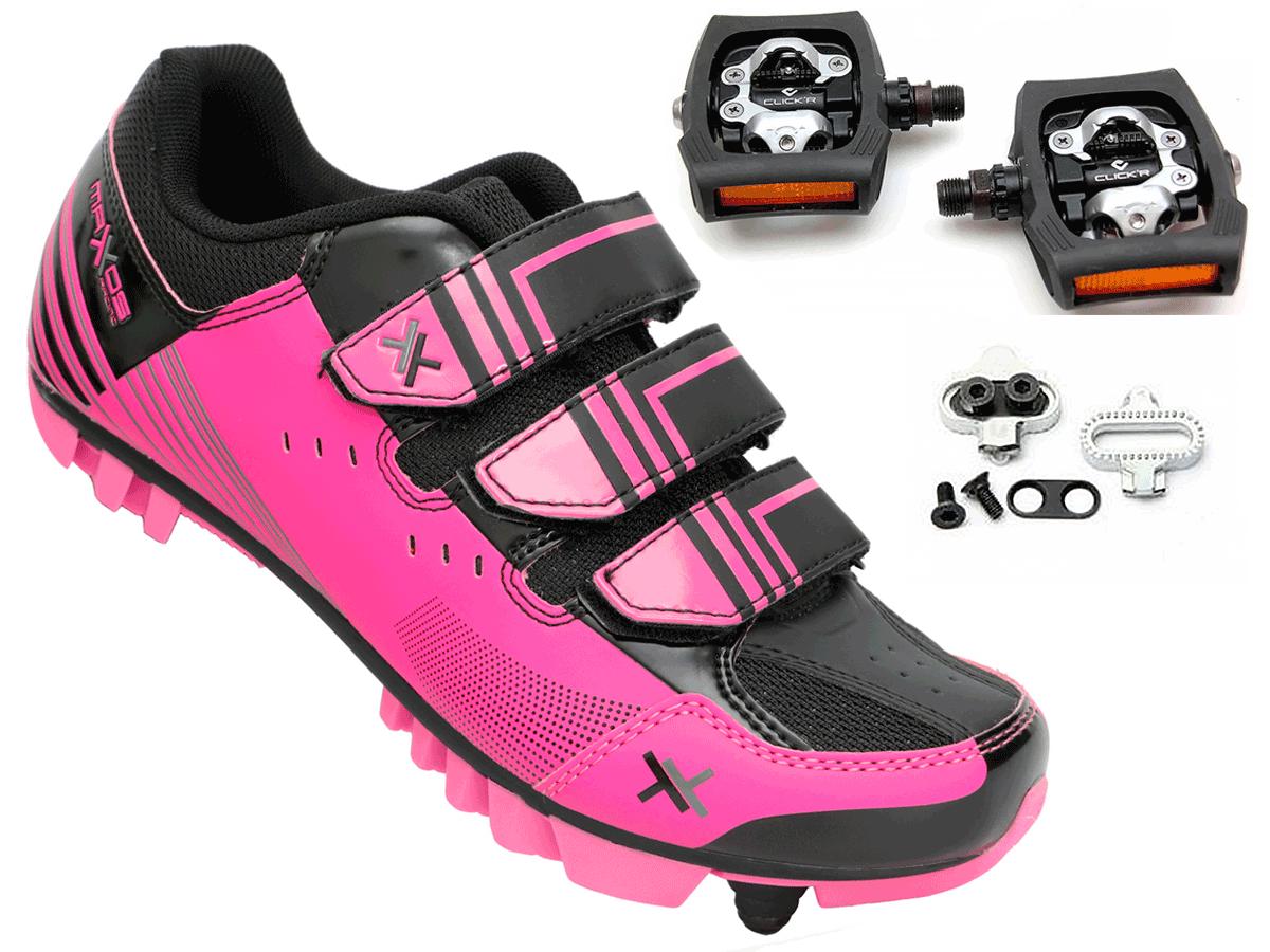 848bb62ad Sapatilha Feminina Ciclismo Mtb Mattos Racing TT Rosa + Pedal Shimano T400