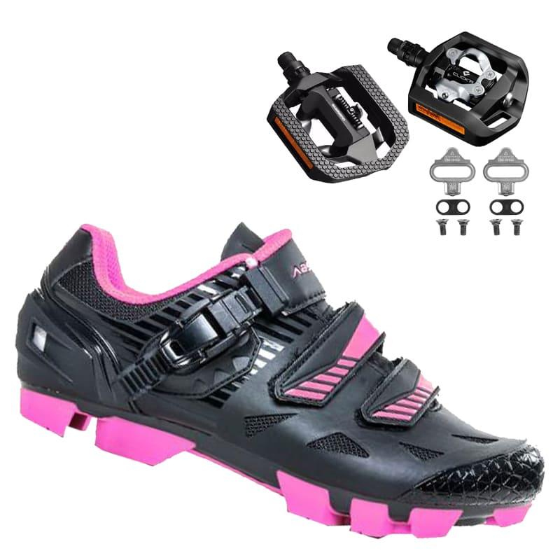 Sapatilha Mtb Ciclismo Absolute Luna II Feminina Preta + Pedal Shimano T421
