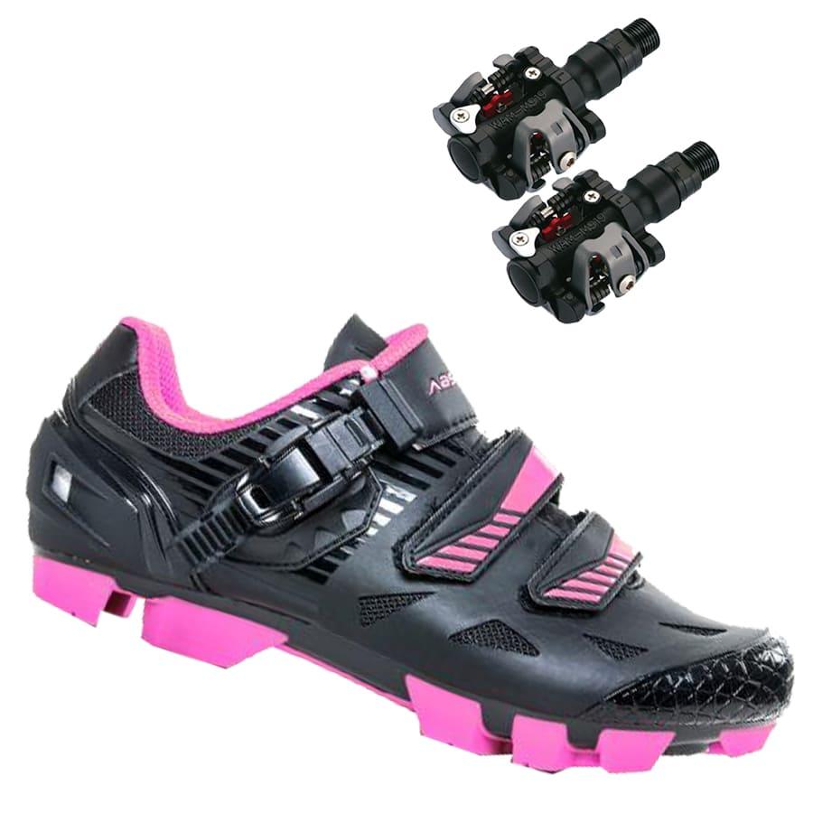 Sapatilha Mtb Ciclismo Absolute Luna II Feminina Preta + Pedal Wellgo M919