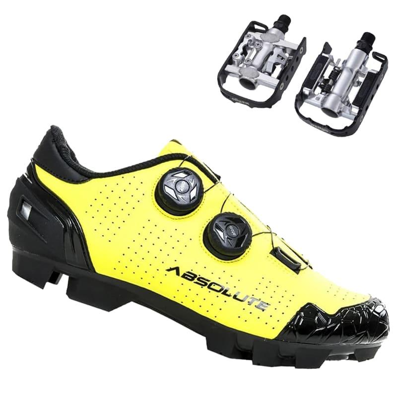 Sapatilha Mtb Ciclismo Absolute Prime II Amarela + Pedal Wellgo C2 Plataforma