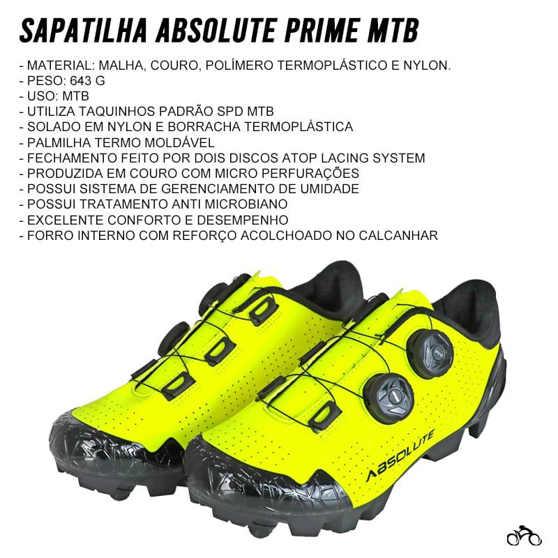Sapatilha Mtb Ciclismo Absolute Prime II Amarela + Tacos Shimano SH51