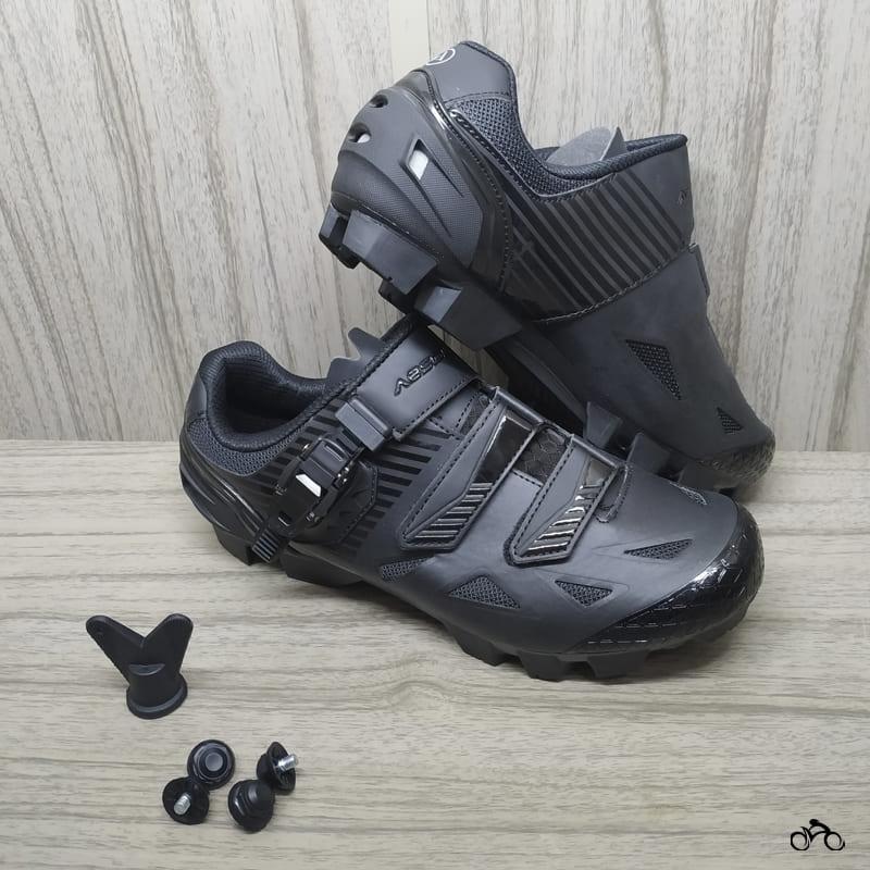 Sapatilha Mtb Ciclismo Absolute Wild II Preta + Pedal Wellgo M279