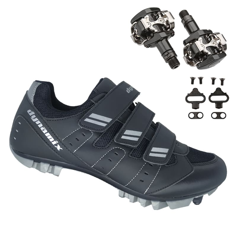 Sapatilha Mtb Ciclismo Dynamix Kanya Preta + Pedal Shimano M505