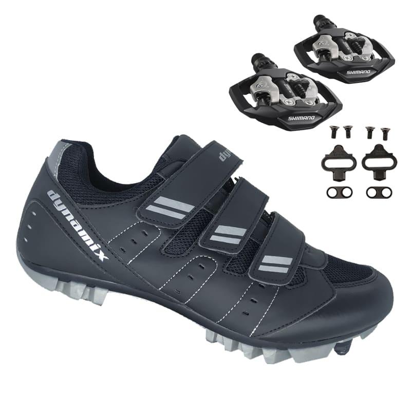 Sapatilha Mtb Ciclismo Dynamix Kanya Preta + Pedal Shimano M530