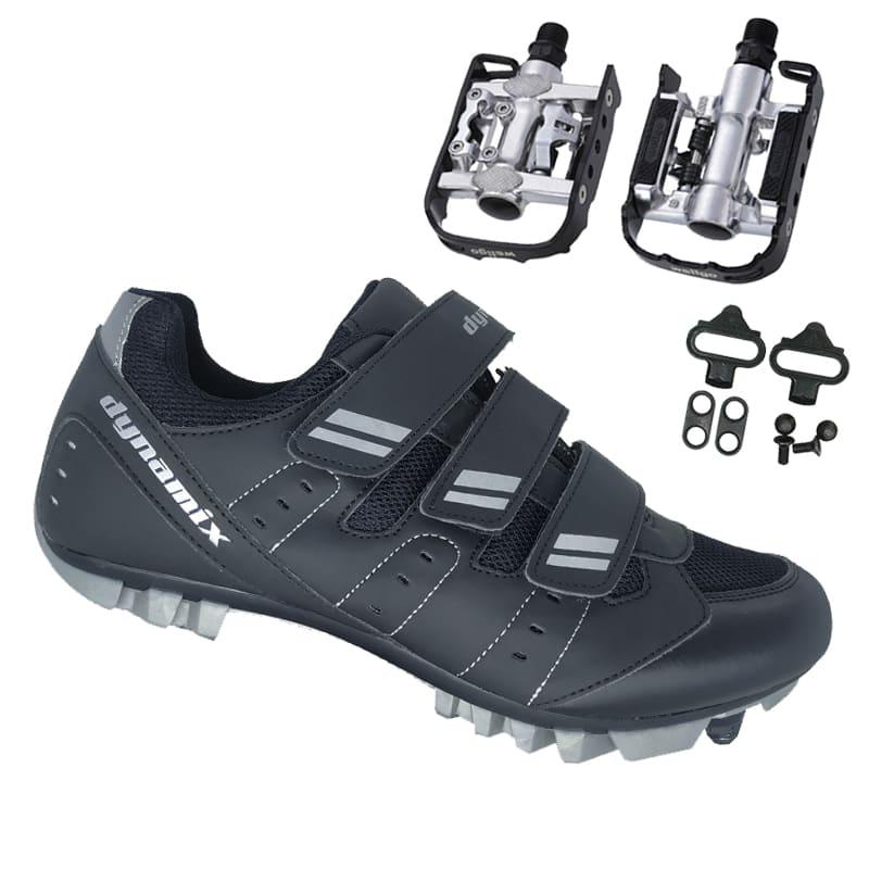 Sapatilha Mtb Ciclismo Dynamix Kanya Preta + Pedal Wellgo C2 Plataforma