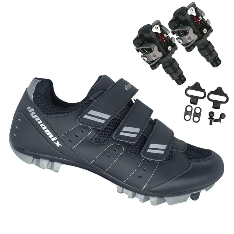 Sapatilha Mtb Ciclismo Dynamix Kanya Preta + Pedal Wellgo M919